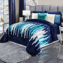 Cannes Figures Geomtric Flannel Extra Soft Reversible Blanket King Xl Size - $103.94