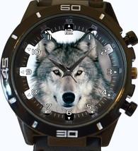 White Wolf Stare Trendy Sports Style Unisex Gift Watch - $34.99