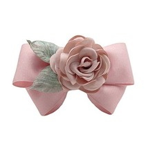 Pink Hair Ornaments Cloth Handmade Barrettes Rose Hair Barrette Bowknot Hairpin