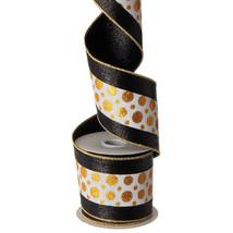 Raz New Years Holiday Ribbon - Elegant Black Gold White Wired 4IN x 10YDSh - $24.70