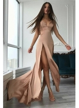 Front-Split A-line Modern Sleeveless V-neck Prom Dress Mermaid Sexy Prom Dress - $151.00
