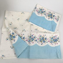 2pc Set Vintage Feedsack Style Pillowcases Pair Rose Floral Blue Scallop... - $17.92