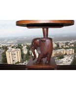 Vintage Hand Carved Wood African Elephant  Table Hard And Heavy Large 18... - $139.99