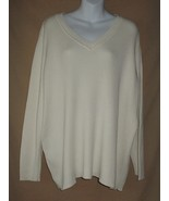 26 28 Lane Bryant Ivory Cotton Ribbed Knit Sweater - $14.99