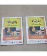 2 pack 3M POST-IT Picture Paper 4x6 20 Sheets Matte Non-Glare Print Peel... - $11.87