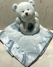 "CARTERS Lovie Rattle Blue Velour & Satin Bear 13"" Square Soft Cuddly Bab... - $10.77"