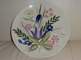 """Vintage Red Wing Pottery Floral Hand Painted Plate - 10 5/8"""" - $49.00"""