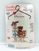 Country Wireworks Noel Teddy Bear w/Packages Christmas Counted Cross Sti... - $7.55