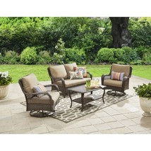 Outdoor Patio Furniture 4 Piece Set Glass Top Coffee Table 5 Lounge Seat... - $798.99