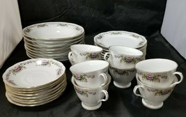 Chinese Fine Bone China Set of 32, 8 Each Soup Bowls, Cups, Saucers, Bre... - $135.44