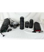 Canon AE-1 35mm Film Camera 50mm lens 70-150mm zoom Miida 75-205mm Kalim... - $247.50