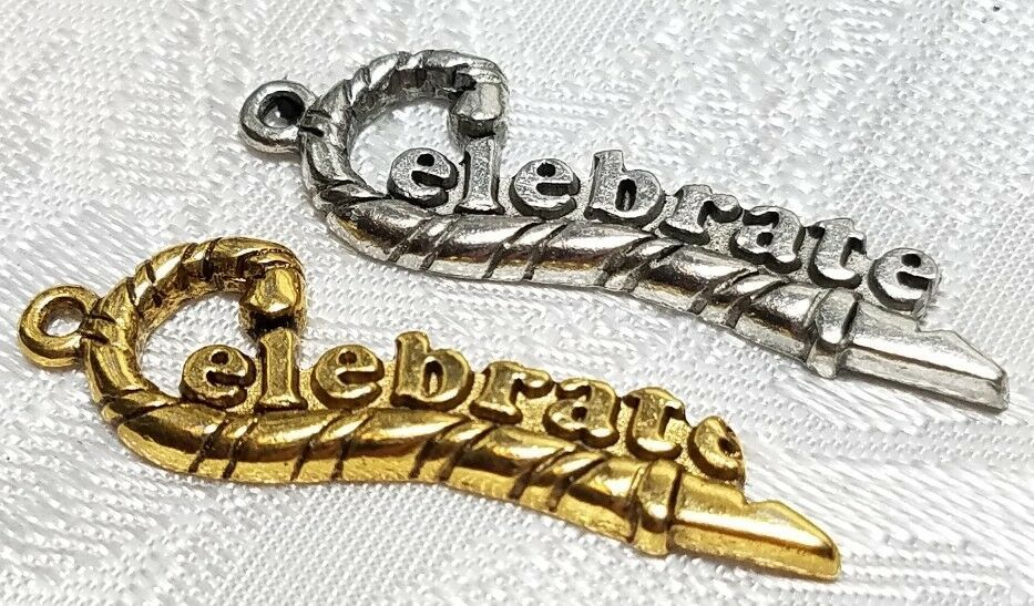CELEBRATE WORD FINE PEWTER PENDANT CHARM