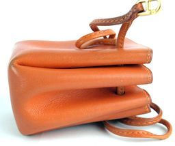 Authentic HERMES Paris Orange Leather Tiny Cosmetic Pouch Wristlet Purse France image 3