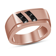 Round Diamond Mens Engagement Ring Wedding Band 14K Rose Gold Finish 925 Silver - $89.99