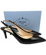 Prada Kid Leather Slingbacks Pumps Black Kitten Heel Sandals Pointy Toe ... - $249.00