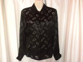 90s Sisley Italy Black Sheer Satin Botton Down Shirt Blouse Grunge Goth   - $39.99