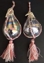Vintage Pair 2 Glass Teardrop Pink White Beaded Tassel Christmas Tree Or... - $29.69