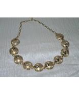 Vintage Goldtone Link Etched Half Circles with Leaf Overlay Choker Neckl... - $13.99