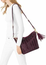 MICHAEL KORS Brooklyn Applique Medium Feed Bag Plum Leather Handbag NEW ... - $299.98