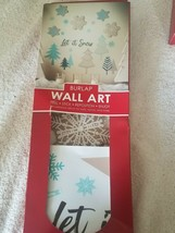 Burlap Wall Art peel stick reposition enjoy snowflakes winter upc 727223... - $39.08