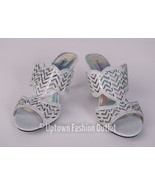 Women's Pierre Dumas Med Heel Church Formal Dress Silver Sandals Evelyn-1 - $29.99