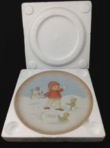 1993 Enesco Porcelain Plate Look Out Something Good Coming Your Way Snowball Elf - $29.64