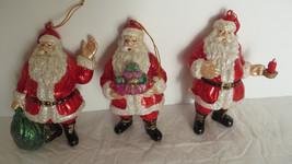 3 Christmas Plastic Fat Santa Claus Ornaments - $10.39