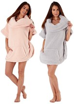 Women's Ladies Sherpa Fleece One Size Snuggle Top With Cowl Neck Pink Wh... - $25.72
