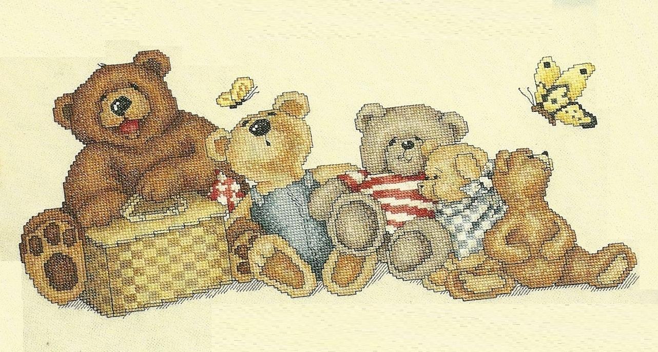 Bears Picnic Cross Stitch Pattern Leaflet 2221 Leisure Arts