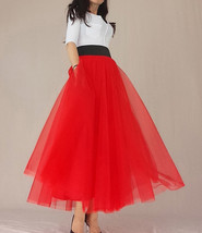A Line Long Tulle Skirt High Waisted Red Long Tulle Skirt Puffy Tutu Pockets image 2