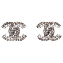 SALE***Authentic Chanel CC Logo Crystal Strass Silver Stud Earrings