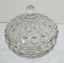 Vintage American Fostoria Round Clear Glass Covered Candy Dish Bowl - $39.99