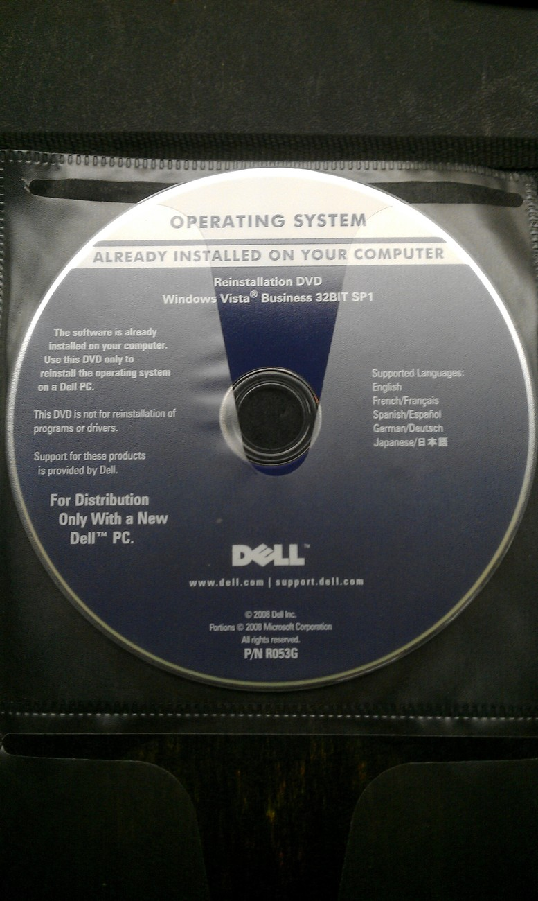 Primary image for DELL RE-INSTALLATION DVD/DISC WINDOWS VISTA BUSINESS 32 BIT SP1 P/N R053G