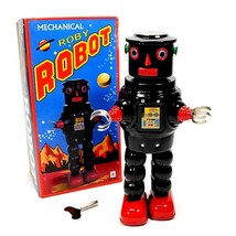 """TIN TOY ROBOT 8.5"""" Wind Up Metal Outer Space Age Roby R-35 Black NIB Ret... - $34.88"""
