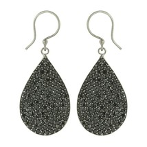 Shine Jewel Round Black Spinel Pear Shape Cluster Dangling 925 Silver Ea... - $24.31