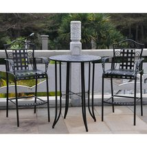 Wrought Iron Bistro Set Tall Patio Deck Garden Bar Footrest  - $459.00