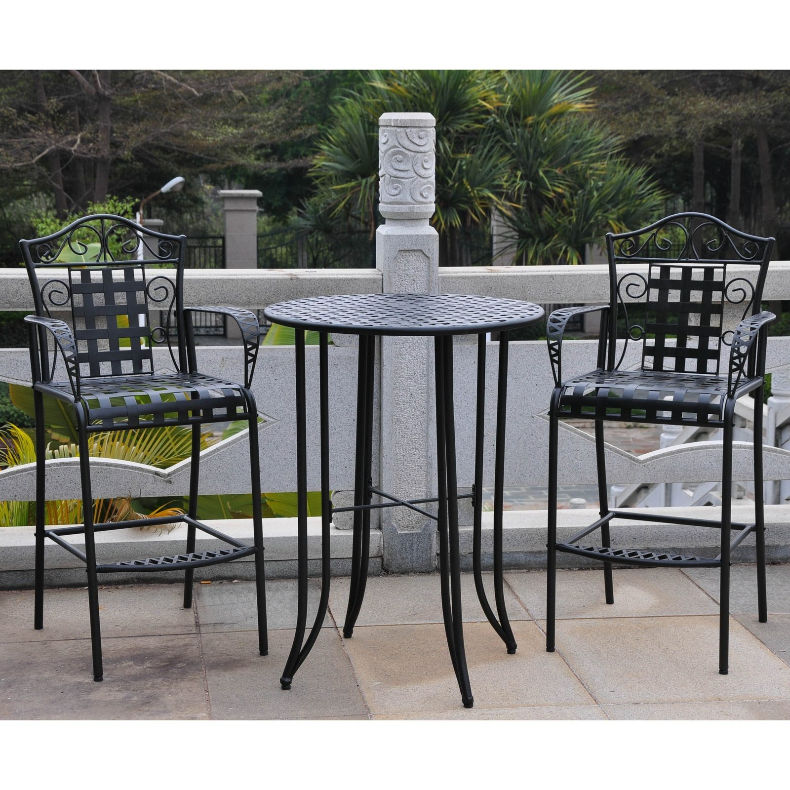 Wrought Iron Bistro Set Tall Patio Deck Garden Bar Footrest