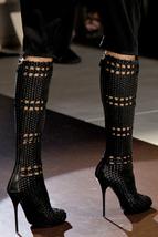 $3700 Gucci Runway Rare Woven Black Sexy Tall Boots Eu 35.5 36 - $1,499.00