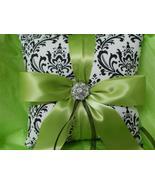 Damask Ringbearer Ring Pillow Madison Black White Lime - $24.95