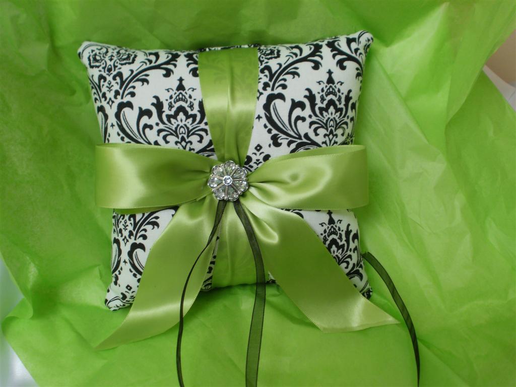 Damask Ringbearer Ring Pillow Madison Black White Lime