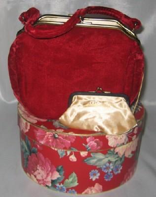 Markay red velvet handbag