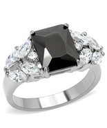 MJS Stainless Steel 3 Carat Radiant Cut Black CZ Engagement Ring Size 8, 9 - $17.89