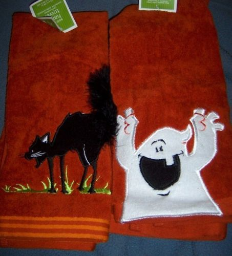 Halloween Set of 2 Hand Towels Ghost Black Cat NEW