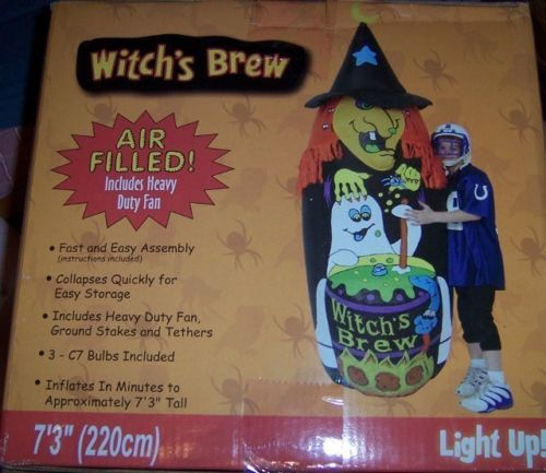 Witch's Brew Halloween Inflatable 7 FT NEW Green Witch Inflates in Minutes