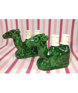 Wonderful 1950's Mid Century Figural Green Camels w/ Double Taper Candle... - $10.00