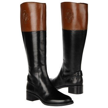Etienne AIGNER COSTA ICONIC RARE BLACK BROWN LOGO TALL RIDING BOOTS US 6