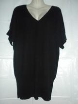 H&M Black V-neck Long Tunic Sweater Mini Dress Knit Top Cotton Blend Large - $24.99