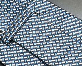 Faconnable Neck Tie Hand Made in France Silk in Blue and Silver