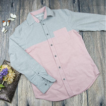 MOSSIMO SUPPLY CO sz S Gray Pink Collared Shirt Athletic Fit button down shirt - $5.94