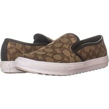 Coach C115 Perforated Slip On Sneakers 270, Khaki/Chestnut, 8.5 US - €40,29 EUR